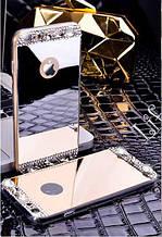 Чехол для Айфона 5 и 5S зеркальный золотой со стразами