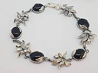 Серебряный браслет с ониксом и фианитами. Артикул 6932 18,5, фото 1