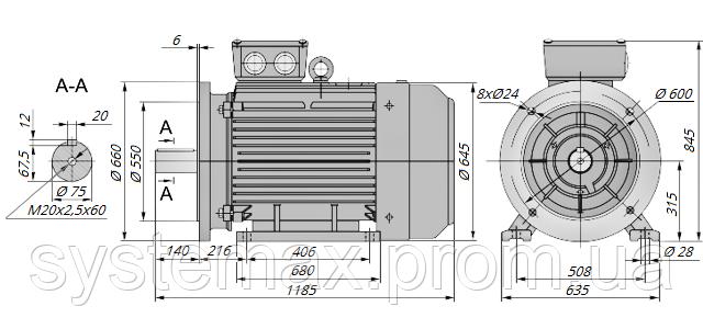 АИР315S2 / АИР 315 S2 / IM 2081 / IM2081 / комб / комбинированный / фланцевый / 160 кВт / 3000 об/мин
