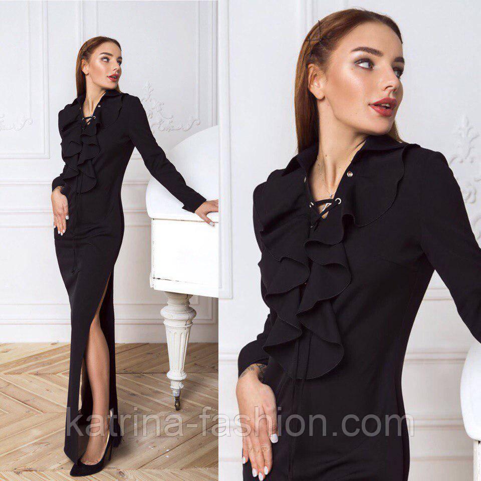 83be2ee6905 Женское красивое черное платье в пол с разрезом   продажа
