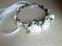 Віночок на голову, з тканинних квіток (три квітки)