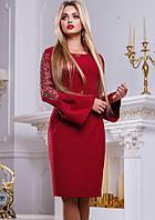Платье до колен винного цвета Д-212