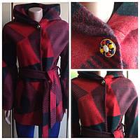 Пальто шерстяное качество СС красное 46р