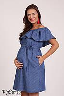 Модное платье для беременных и кормящих CHIC DR-28.051, голубой джинс с точечками, фото 1