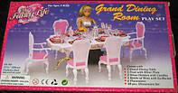 Мебель для кукол Gloria Глория 2312 Столовая на 6 персон, обеденный стол, стулья, посуда