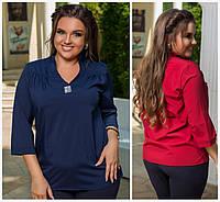 Стильная блузка с украшением Батал до 54р 16061, фото 1