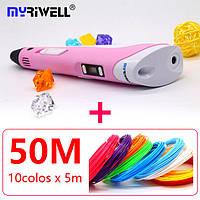 Оригинал! 3D ручки Myriwell 2 поколение + полный набор для ручки+50м пластика pla