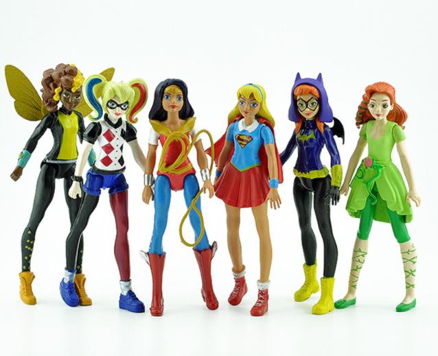 Набор Марвел Супергерои 6 шт. Мешок в ПОДАРОК Девушки Мстители 15 см. Харли Квинн Бэтгерл,Супергерл
