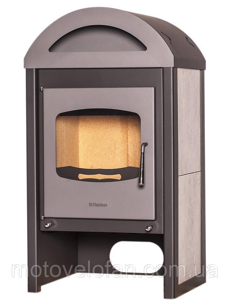 Отопительная печь-камин длительного горения FLAMINGO MELAND (белый дуб)