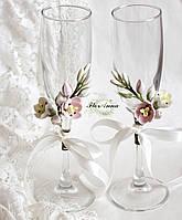 """Свадебные украшения на бокалы с цветами (съемные украшения 1 шт) """"Тюльпаны"""""""