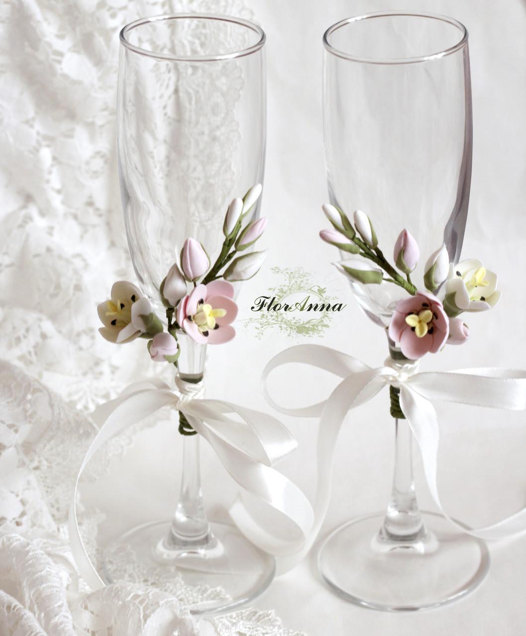 """Свадебные украшения на бокалы с цветами (съемные украшения 1 шт) """"Тюльпаны"""", фото 1"""