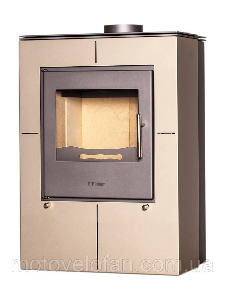 Отопительная печь-камин длительного горения FLAMINGO EVENES (кремовый металлик)