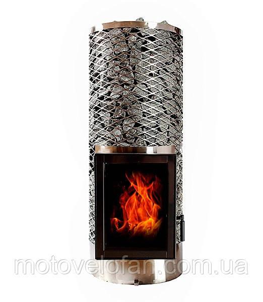 Дровяная печь для бани и сауны IKI Kivi JR со стеклянной дверкой (левая)