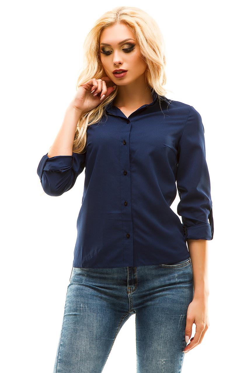 Блузка 246 темно-синяя размер 44