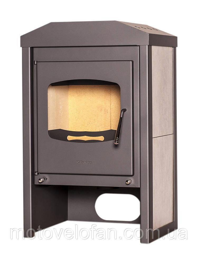 Отопительная печь-камин длительного горения FLAMINGO VEGA (белый дуб)