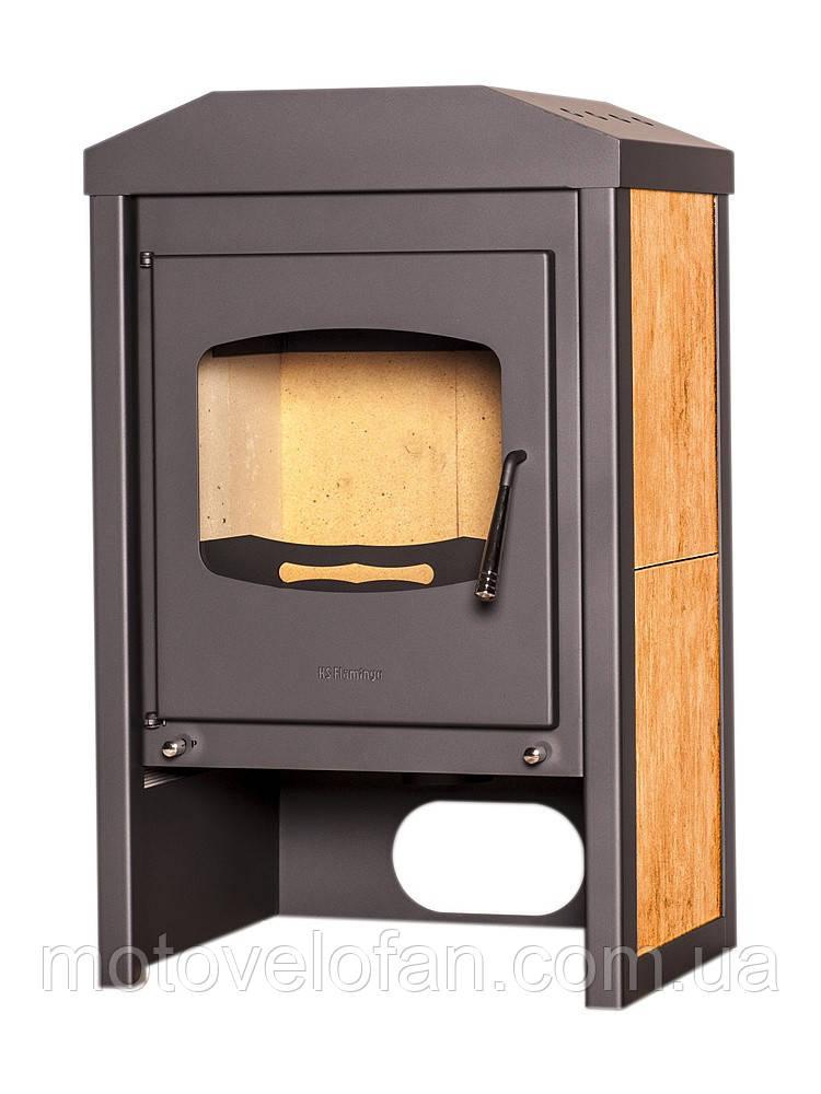 Отопительная печь-камин длительного горения FLAMINGO VEGA (орех)
