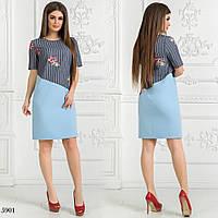 Платье короткий рукав облегающее джинс-вышивка + плательный креп 42,44,46