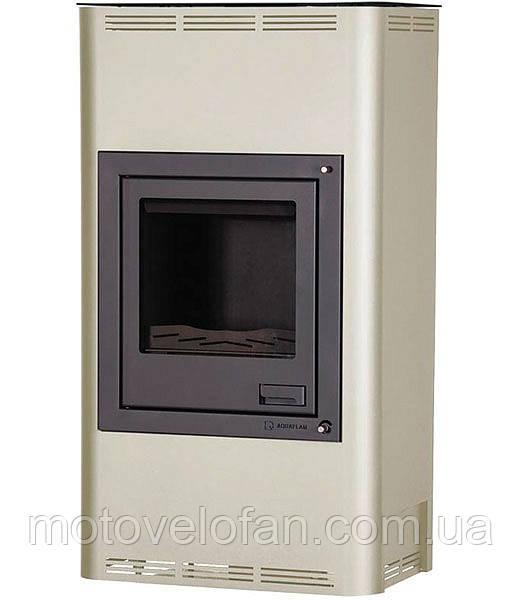 Отопительная печь-камин длительного горения AQUAFLAM 17 (водяной контур, ручная рег, кремовый)
