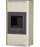 Отопительная печь-камин длительного горения AQUAFLAM 17 (водяной контур, ручная рег, кремовый), фото 1