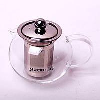 Заварочный чайник 400 мл Kamille стеклянный со съемным ситечком (заварник, для газовых плит)