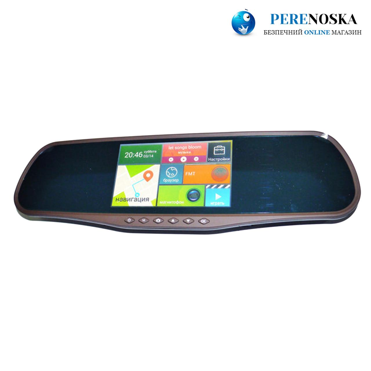 "D25 Зеркало регистратор, 5"" сенсор, 2 камеры, GPS навигатор, WiFI, 8Gb, Android"