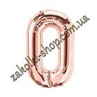"""Фольговані повітряні кулі, цифра """"0"""" нуль, розмір 40 дюймів/102 см, колір: бронза рожеве золото, можна над, фото 2"""
