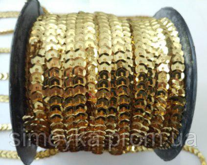 Пайетки на нитке (тесьма) золотые рифлёные круглые (диаметр пайеток 6 мм)