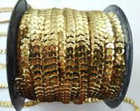 Пайетки на нитке (тесьма) золотые рифлёные круглые (диаметр пайеток 6 мм), фото 1