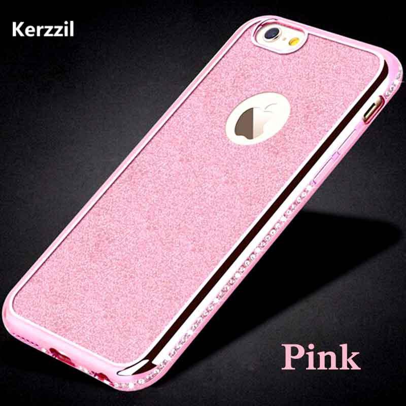 Чехол со стразами розовый сияющий 6/6S iPhone