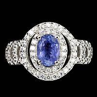 Серебряное кольцо с танзанитом 7мм* 5 мм