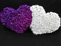 """Свадебные украшения на машину """"Двойная сердце """" сиренево-белый, фото 2"""