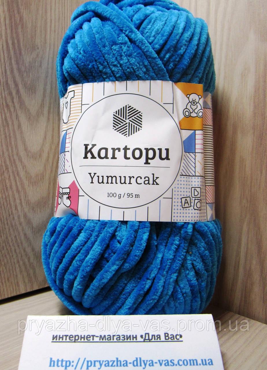 Детская плюшевая пряжа(100%-полиэстер, 100 г/ 95 м) Kartopu Yumurcak 0016(бирюзовый)