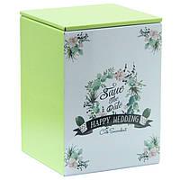 Жестяной контейнер для чая и кофе Венчание салатовая, 75г ( коробочка с крышкой )