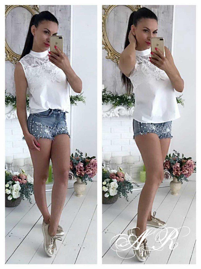 Блуза (Фабричный Китай) ткань х/ коттон +кружево. (5310)