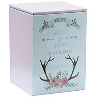 Металлический контейнер для кофе и чая Венчание розовая, 75г ( коробка с крышкой )