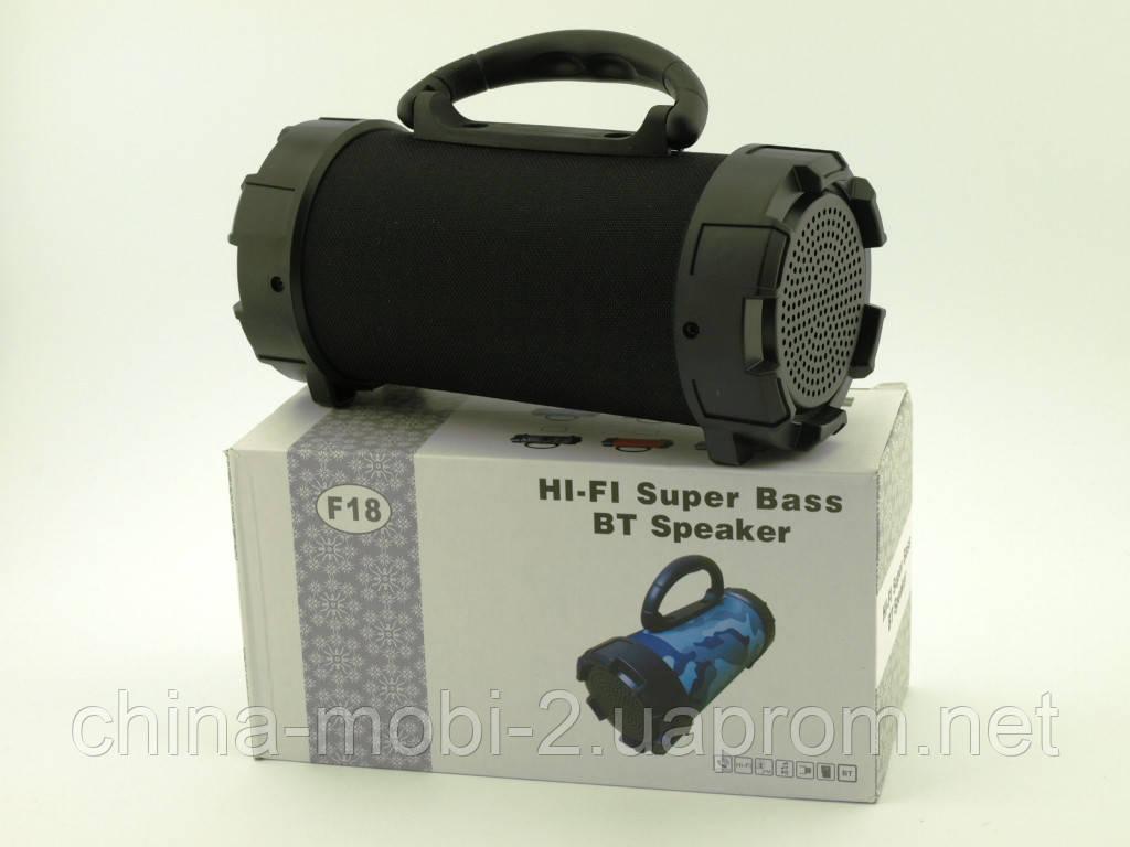 F18 Super Bass 5W boombox, портативная колонка c Bluetooth FM MP3, черная