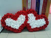 """Свадебные украшения на машину """"Двойные сердца бело-красные 3D"""", фото 3"""