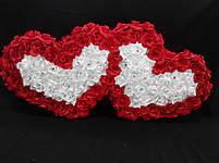 """Свадебные украшения на машину """"Двойные сердца бело-красные 3D"""", фото 4"""