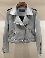 Женская замшевая куртка косуха светло серая, фото 1