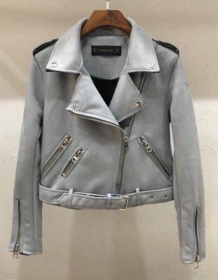 Женская замшевая куртка косуха светло серая