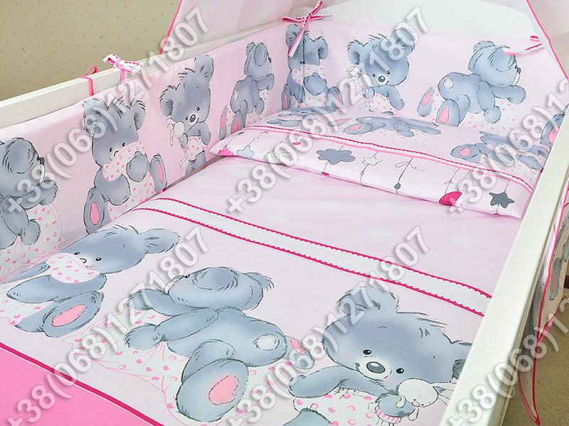 """Детское постельное белье в кроватку """"Карапуз"""" комплект 7 ед. Мишка подушка розовый"""
