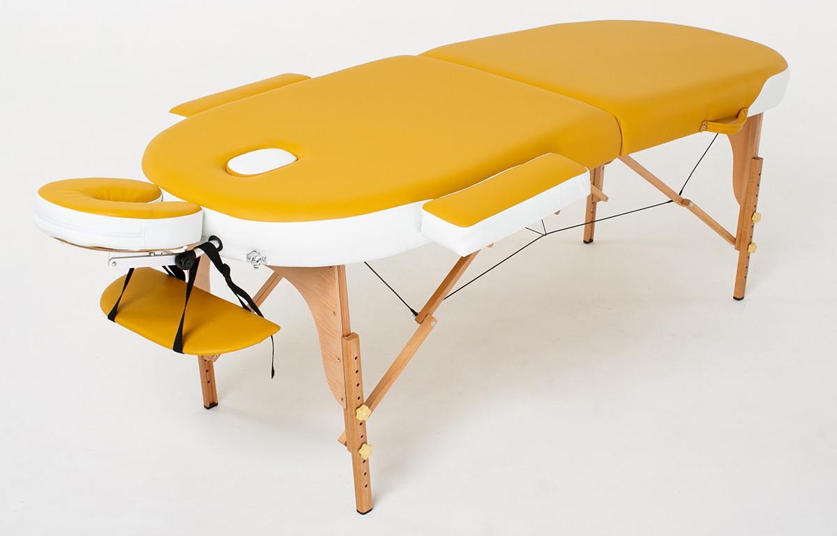 Великий масажний стіл дерев'яний 2-х сегментний RelaxLine Sahara кушетка масажна для масажу