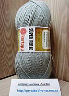 Акриловая пряжа (100%-акрил, 100г/ 400м) Kartopu Super Perle K920(серый)
