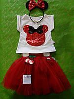 Костюм двойка для девочки 2-5 лет футболка перевертыш  цвета,юбка из фатина красный цвет с обручем минни оптом