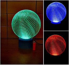 3d-світильник Баскетбольний м'яч, 3д-нічник, кілька підсвічувань (на батарейці)