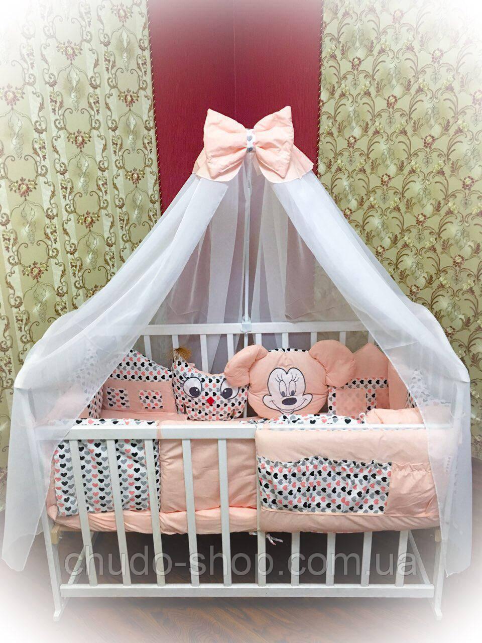 """Детская постель для новорожденных Bonna """"Лесные зверята"""" персиковая"""