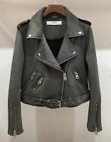 Женская замшевая куртка косуха графит (темно серая)