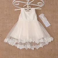 Платье детское нарядное из атласа асимметричная юбка на рост 74-98см