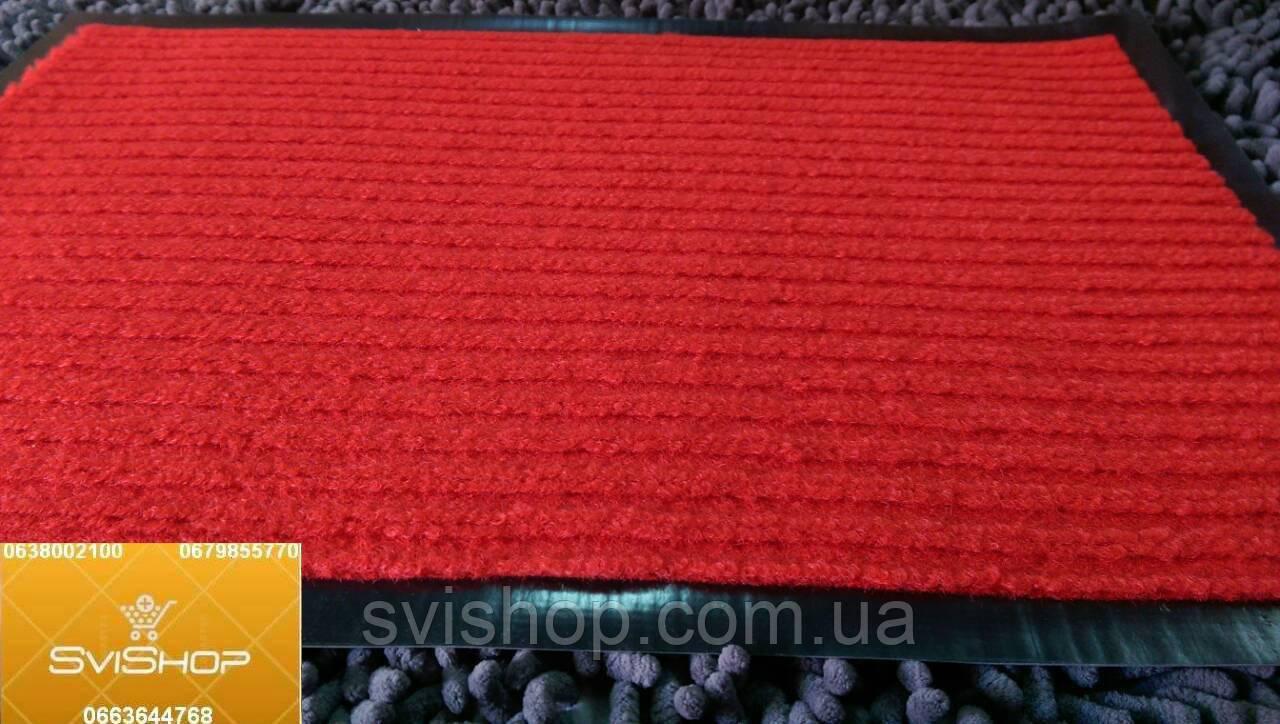 Придверный коврик прямоугольный красная полоса