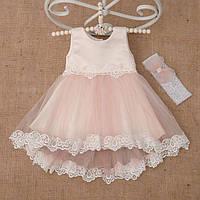 Платье детское нарядное из атласа асимметричная юбка на рост 98см